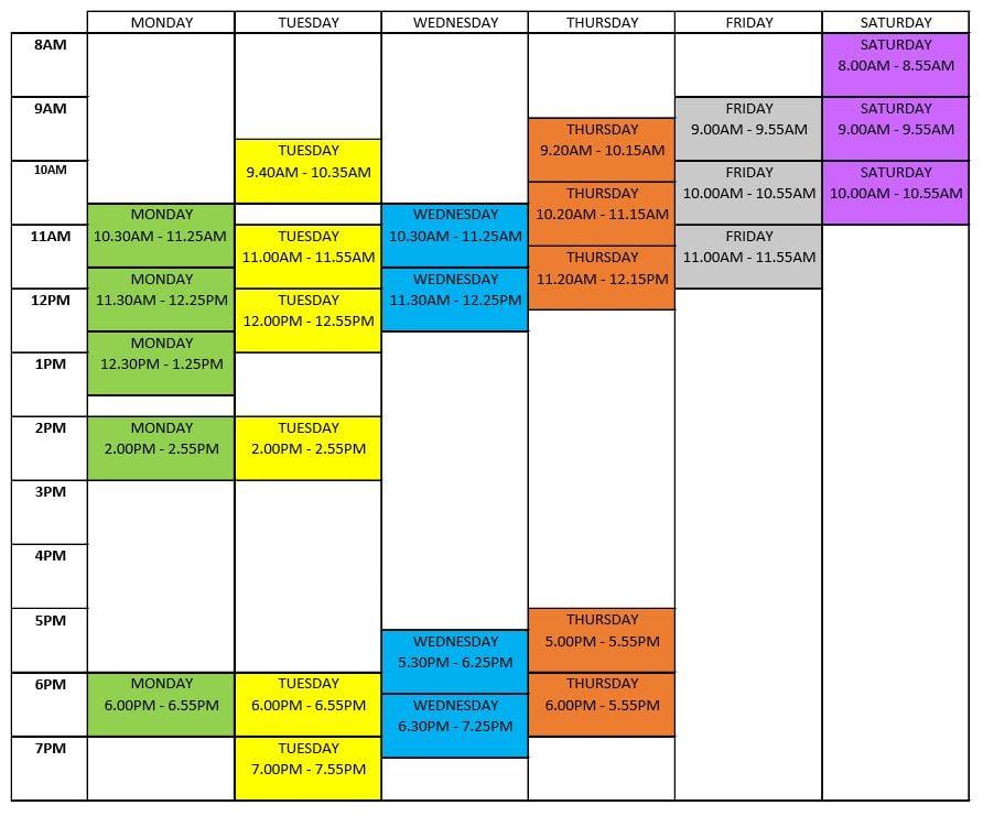 PEG Timetable T2 20